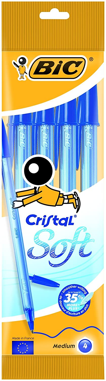 BIC Cristal Soft - Estuche de 4 bolígrafos, color negro 918526