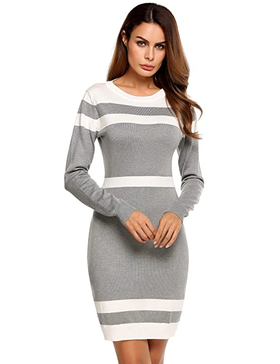 ELESOL Women Long Sleeve Sweater Dresses | Colorblock Stripe Crew Neck Sweater Dress