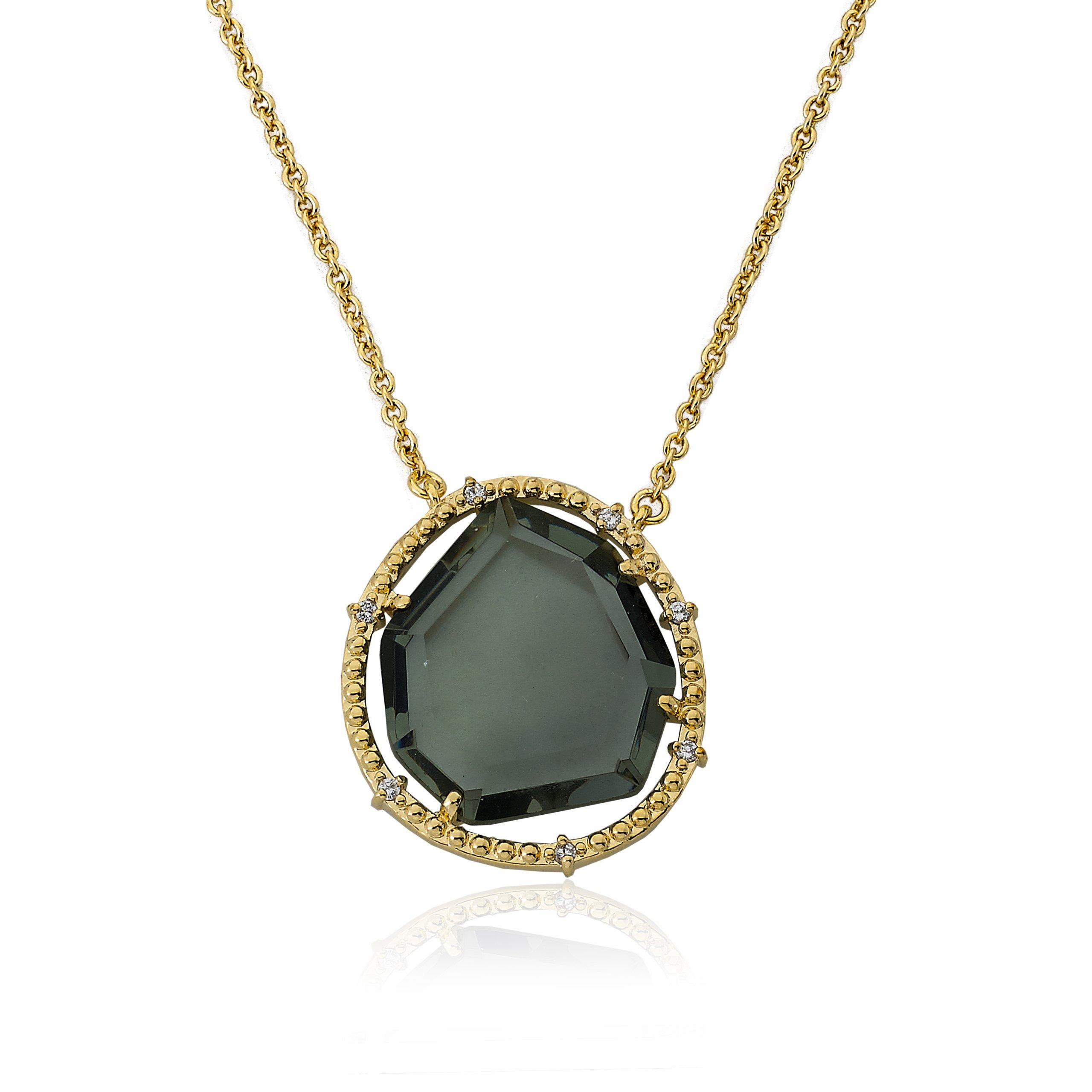 Riccova Sliced Glass 14k Gold-Plated Black Sliced Glass Pendant Chain Necklace 16''/2'' by Riccova