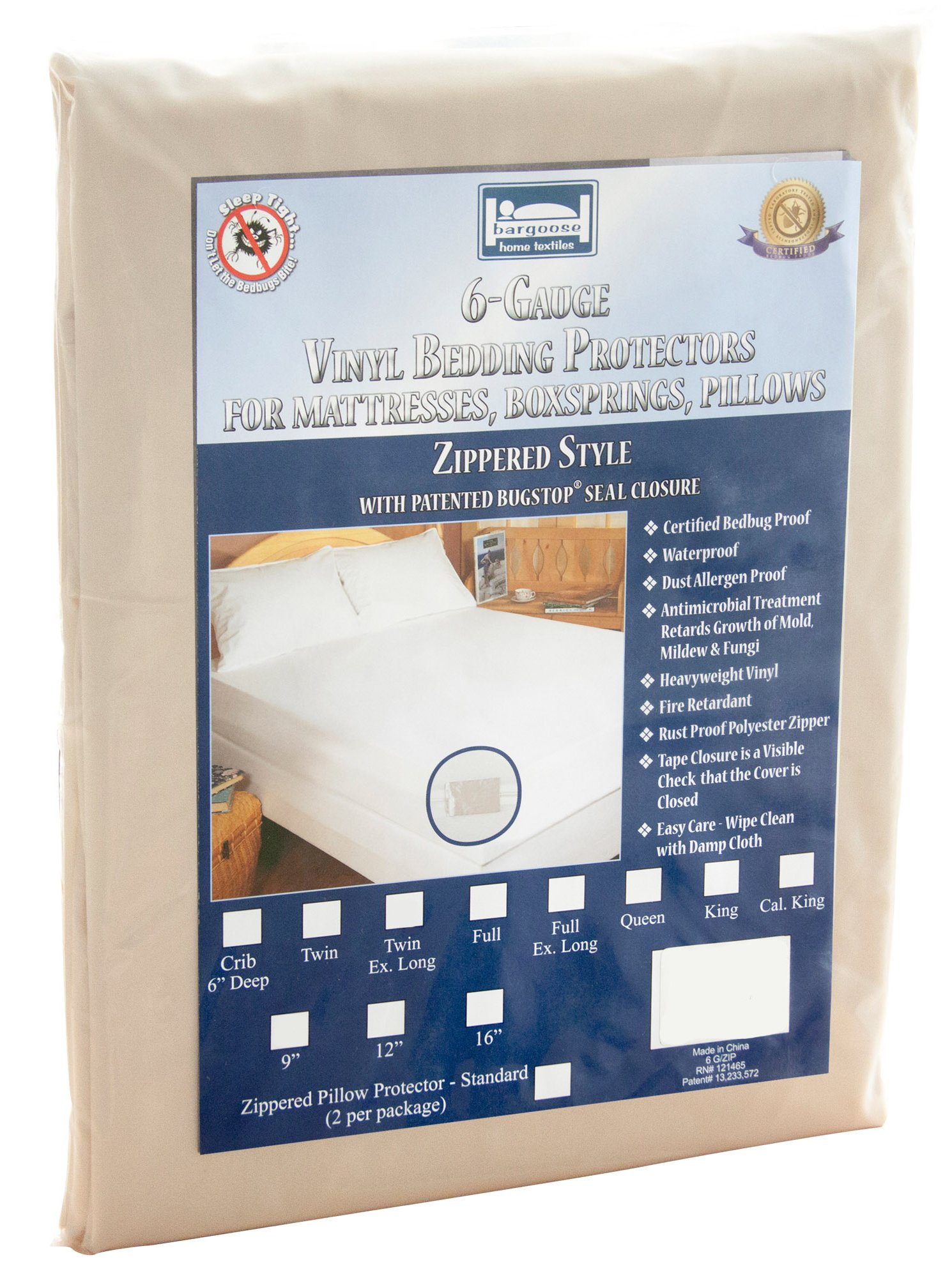 The Allergy Store Zippered Vinyl Mattress Cover, 6 Gauge, 7'' Deep, White, Twin X-Large