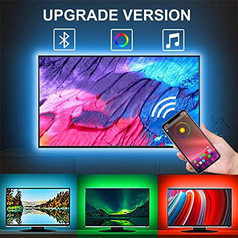 LED Strip Lights, Naouis 5V Dimmable LED Strip Lights with APP Remote for  TV,Mirror,PC,Sync to Music,5050 RGB LED Strip Kit Compatible with Android