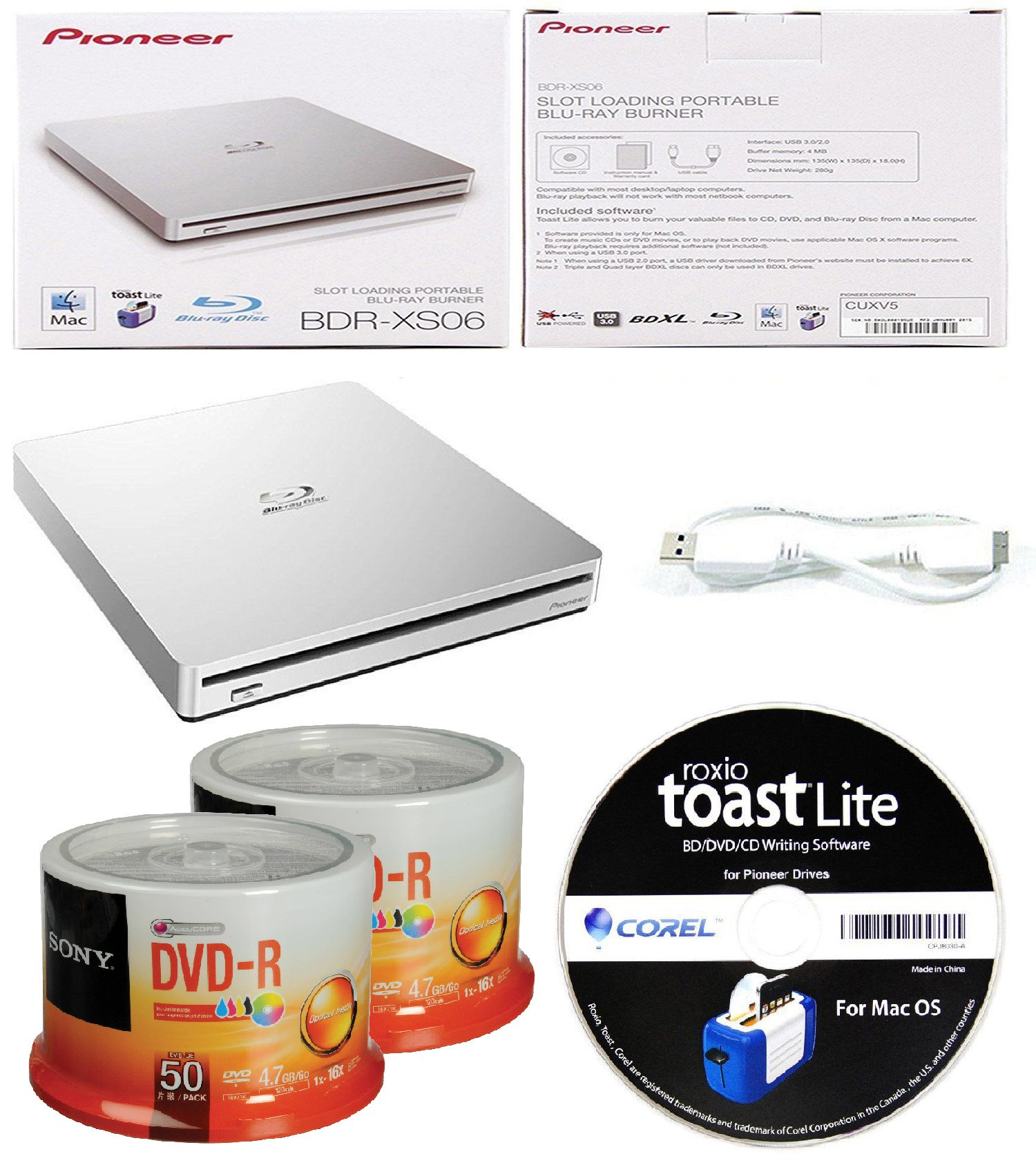 Pioneer 6x BDR-XS06 Slim Slot Portable External Blu-ray BDXL Burner, Roxio Toast Lite Software and USB Cable Bundle with 100pk DVD-R Sony Accucore 4.7GB 16X White Inkjet Printable