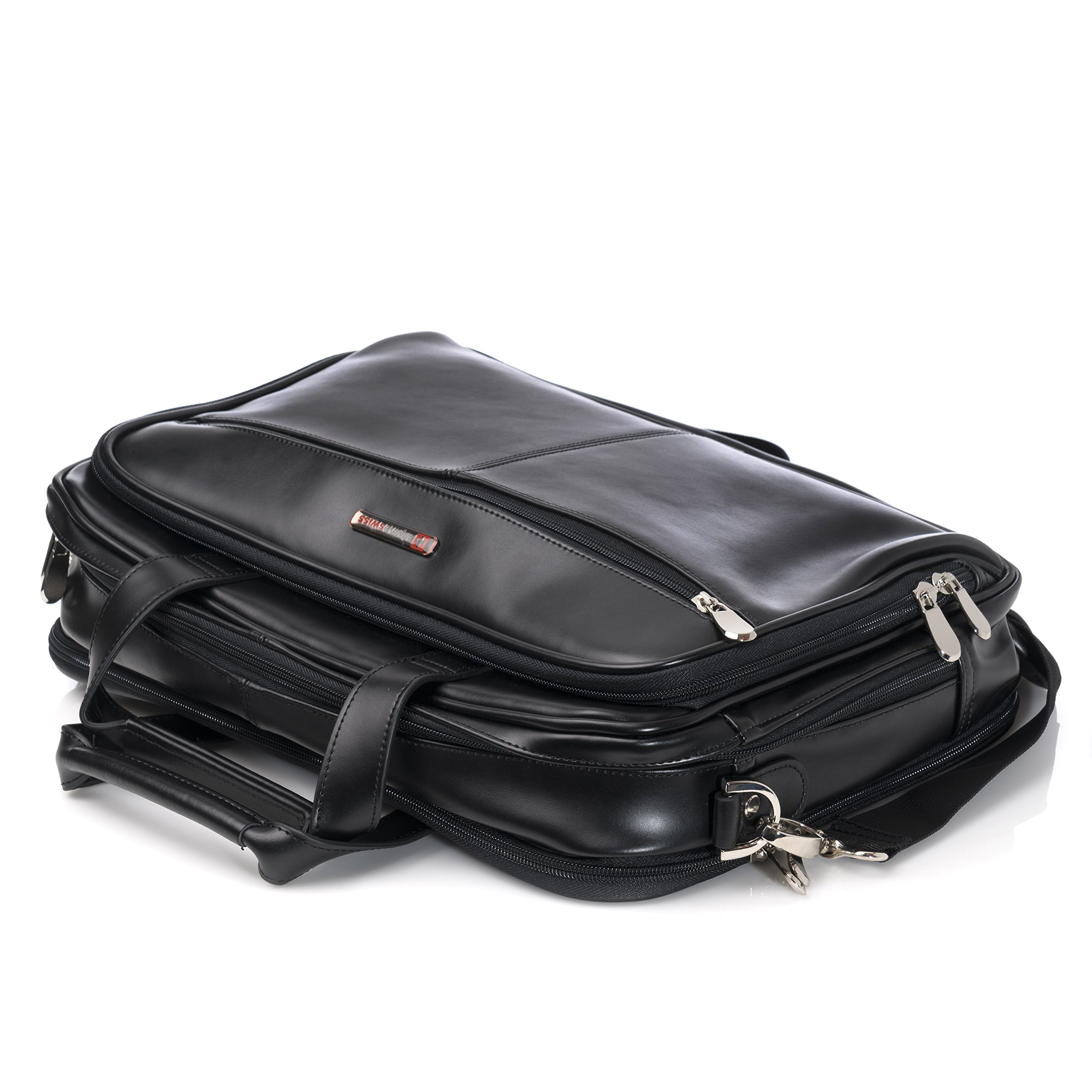 Alpine Swiss Monroe Leather Briefcase Top-Zip Laptop Messenger Bag Black by alpine swiss (Image #9)