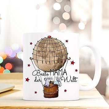 Tasse Becher Ballonfahrt Mit Hase Waschbär Und Spruch Beste Mama Der Welt Ts428 Büro & Schreibwaren