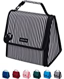 ADOLPH Expandable/Flexible Capacity Insulated Lunch Bag Reuable Leakproof Cooler Bag with Detachable Buckle Handle for Women Men Kids-White Stripe