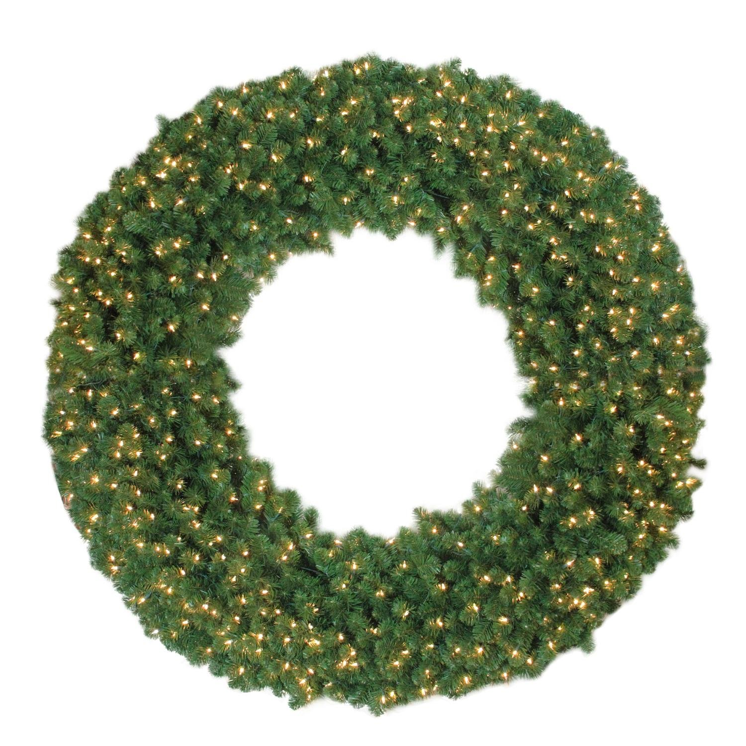 NORTHLIGHT NL03212 Clear Lights Olympia Pine Christmas Wreath, 6'