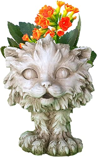 Muggly's Homestyles 37605 Scruffy The Kitty Cat Animal Face Planter 12″ Antique White Garden Statue