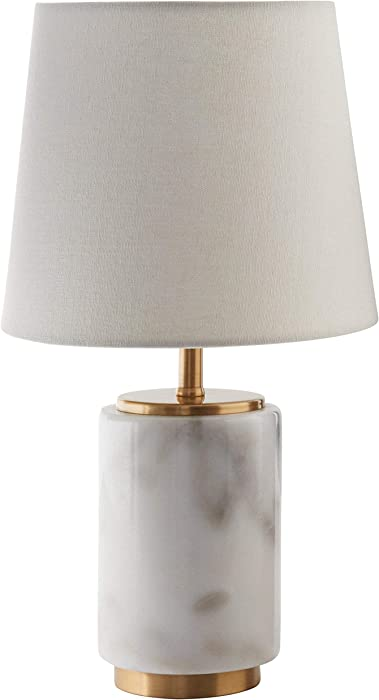 Rivet Mid Century Modern Marble Table Decor Lamp With LED Light Bulb - 14 Inches, White Marble and Brass