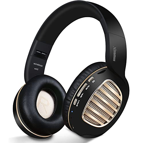 Bluetooth Headphones,Riwbox WB5 Wireless Headphones Over Ear with Microphone and SD Card Slot, 5 EQ Sound Modes,Wireless&Wired Foldable Stereo Headset for PC/Cell Phones/TV/Iphone/Ipad (Black Gold)