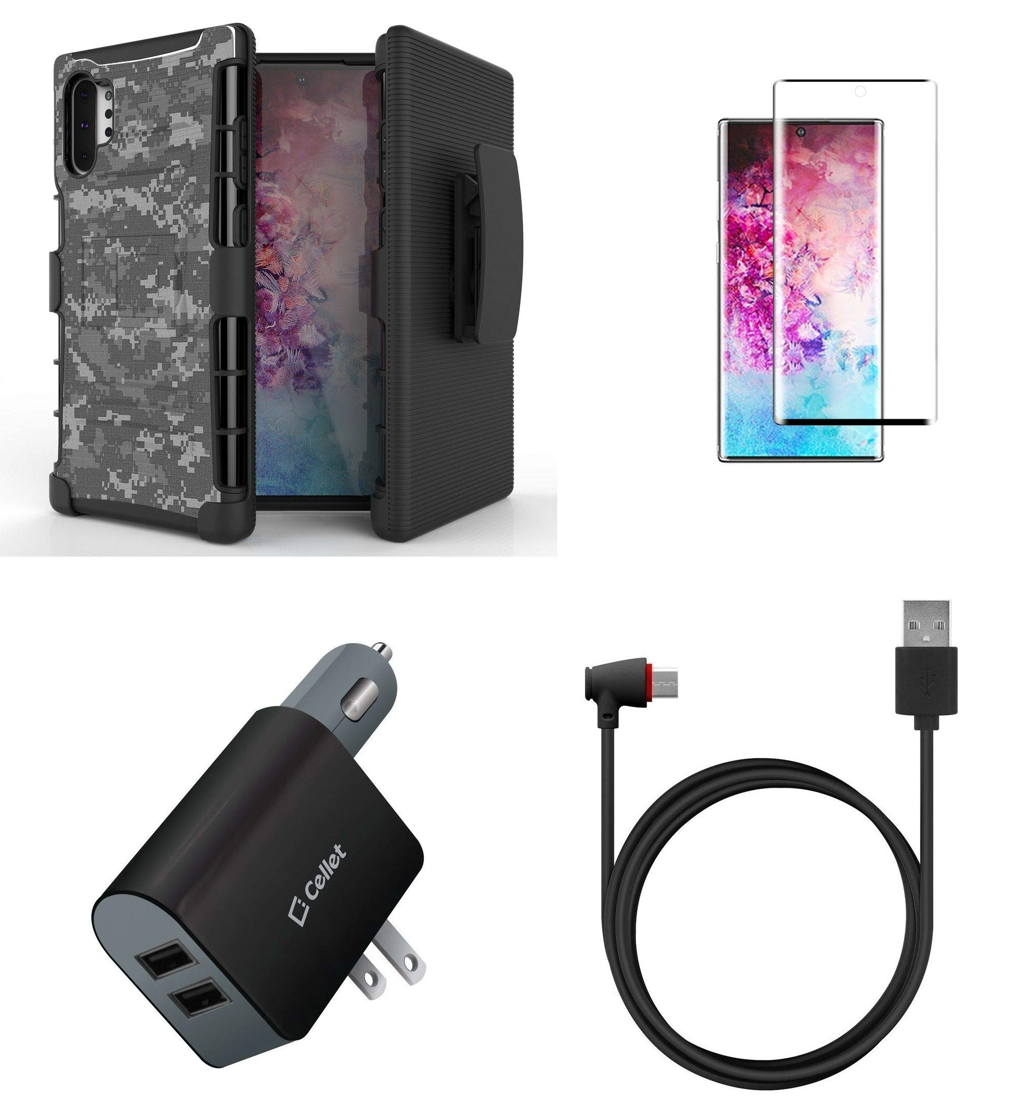 BC Rugged Series Bundle Compatible with Samsung Galaxy Note 10+ Plus - Heavy Duty Armor Holster Case (Digital Pixel Camo), Glass Screen Protector, UL Certified 10W Car/Wall Charger, Angled USB-C Cable by Bemz Depot