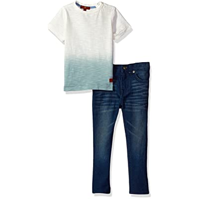 7 For All Mankind Toddler Boys' 2 Piece Two-Tone Tee and Jean Set