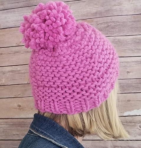 f52a46e68e4 Amazon.com  Womens Pink Chunky Handmade Pom Pom Beanie Hat  Handmade