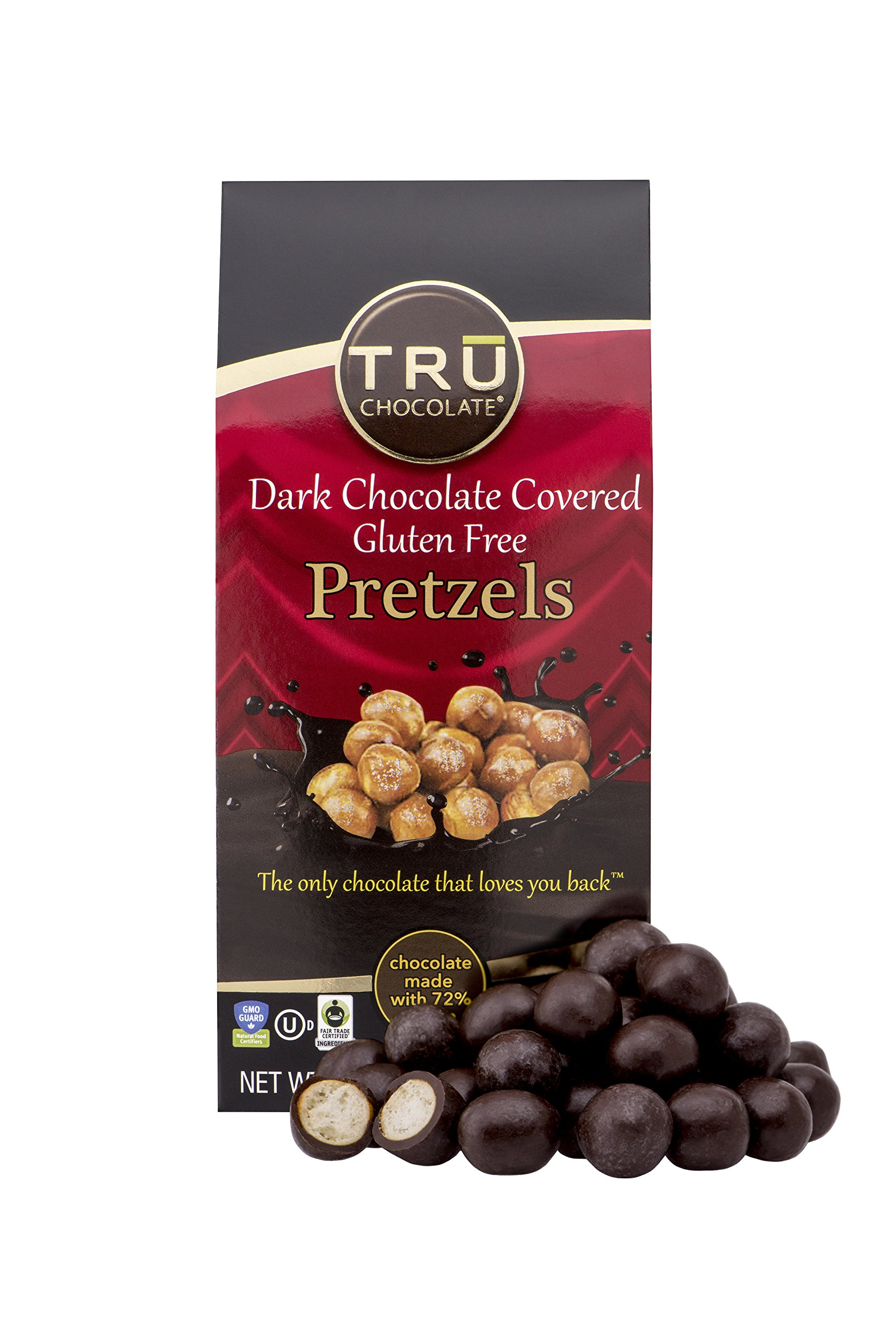 TRU Chocolate 72% Dark Chocolate dipped Pretzels - Gluten Free, NON-GMO, Vegan, Dairy Free, Kosher, All Natural, Sugar Free 3oz.
