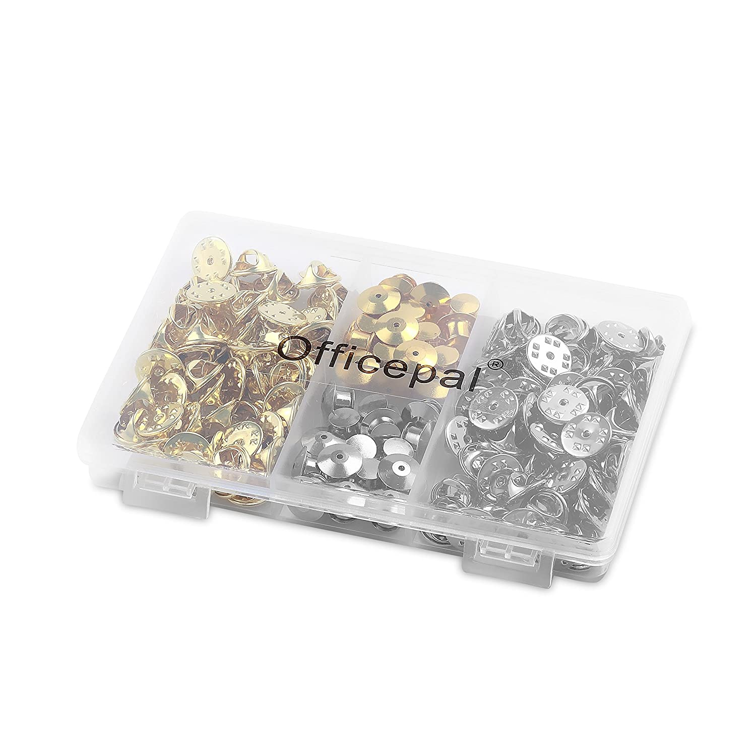 Officepal 130pc Bulk Lot Butterfly Clutch Pin Backs Set Silver /& Gold Locking Metal Clasp Fastener Keepers in Storage Case