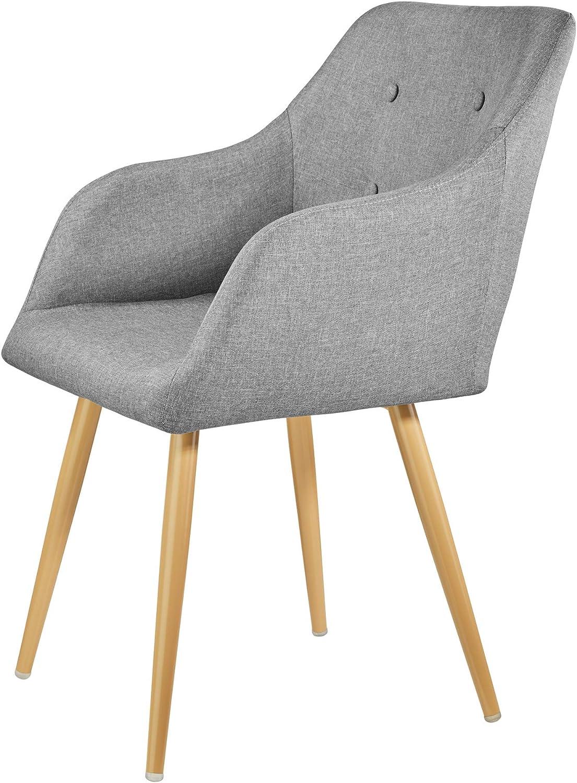 Fauteuil de Salon Rembourr/é au Design Scandinave 55 cm x 54 cm x 82,5 cm Chaise de Salle /à Manger Confort Noir TecTake 403195