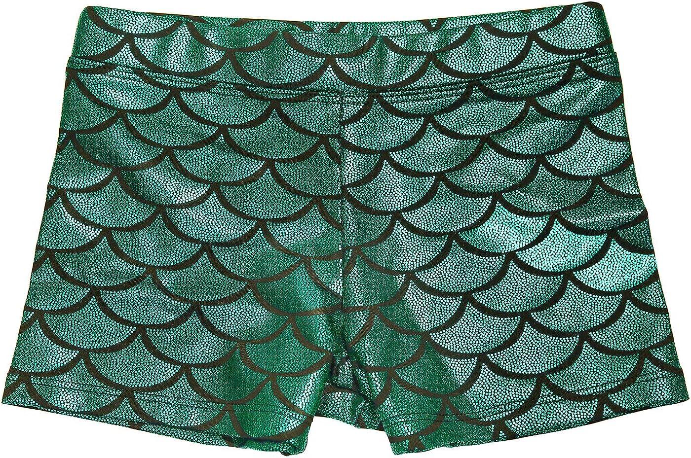 HDE Gymnastics Shorts for Girls - Mermaid Dance Shorts Fish Scale Shorts: Clothing