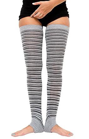 71ff7a012 Black   Charcoal 30 Inch Thigh High Striped Leg Warmers KD dance New York  Sexy Stretch