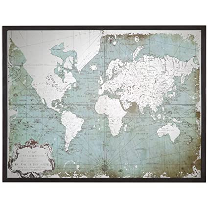 Mirrored Map Of The World.Amazon Com Uttermost 30400 Mirrored World Map Blue Home Kitchen
