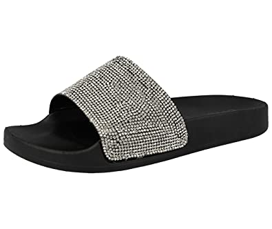 a33cd814b New Womens Slip On Sliders Flat Diamante Sandals Rubber Mules Flat Shoes  (36   3