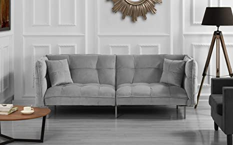 Divano Roma Furniture Collection - Modern Plush Tufted Velvet Fabric Splitback Living Room Sleeper Futon (Light Grey)