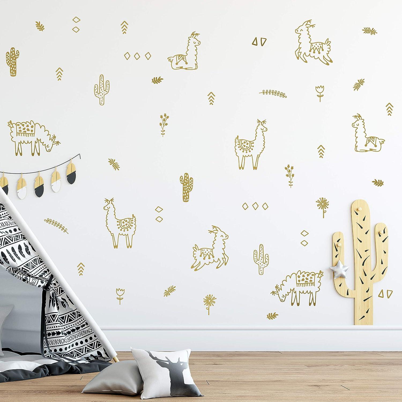 Triangles Bedroom Decoration./ Flowers Original Artist Design Wall Vinyl Gold Alpaca Animal and Cactus Decal 50 pcs Adhesive Animals Sticker for Kids Cacti Nursery Decor Baby Nordic Lama