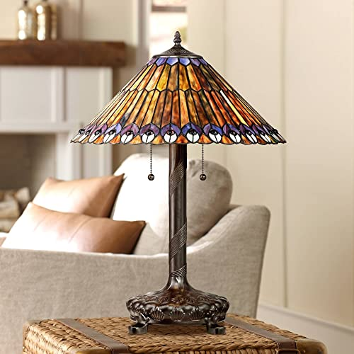 Table Lamp Antique Bronze Tiffany Style Peacock Antique Art Glass Shade for Living Room Family Bedroom Bedside Office – Robert Louis Tiffany