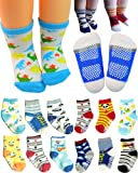 Amazon Price History for:BSLINO 6 Pairs 12-36 months Unisex Baby Boy Toddler Non-Skid Slip Cozy Soft Crew Boat Socks + Gift bag + Gift Card, Stripes No-Show Crew Boat Socks Footsocks sneakers
