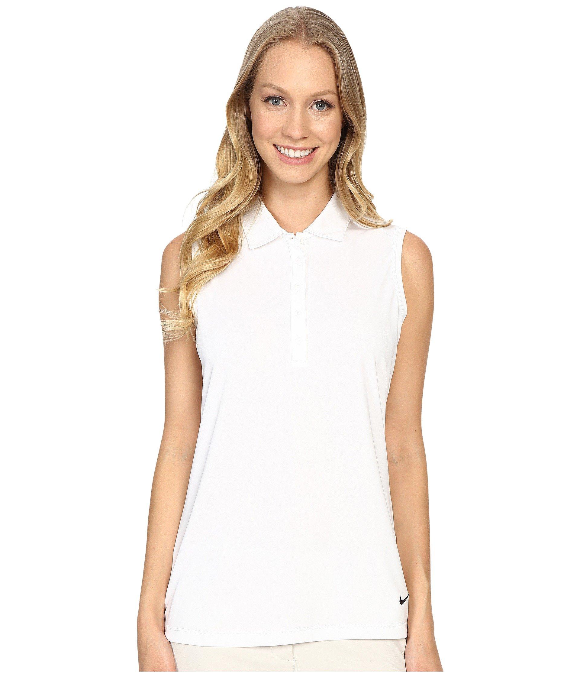 Nike Women's Victory Solid Sleeveless Polo, White/Black XS