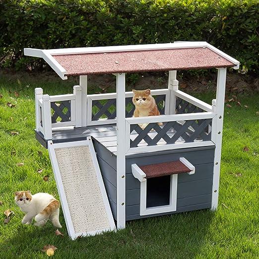 Amazon.com: Kinbor Casa de madera para gatos, para exterior ...