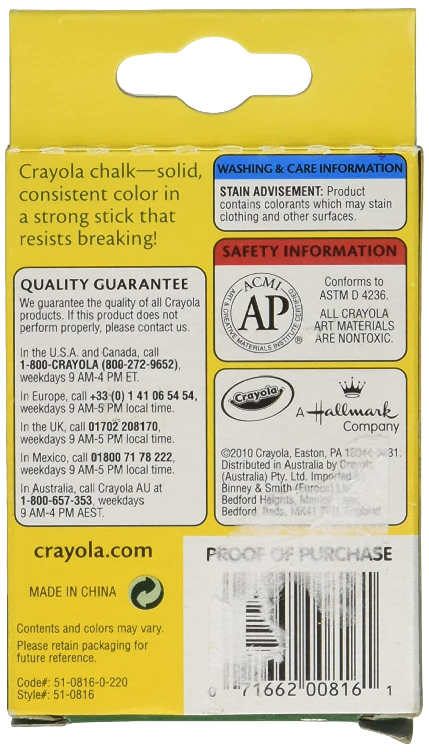 Amazon.com: Crayola Chalk, Assorted Colors, 12 Sticks Per Box: Office  Products