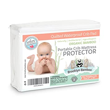 Awesome Brooklyn Bamboo Softest Organic #1 Portable Crib Mattress Pad Protector  Quilted, Deep Skirt,
