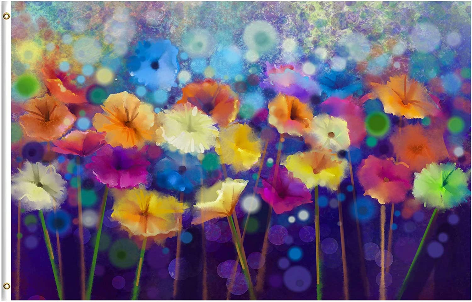 ShineSnow Watercolor Abstract Spring Summer Seasonal Floral Daisy Flowers 3x5 Feet Flag, Polyester Double Stitched with Brass Grommets 3 X 5 Ft Flag for Outdoor Indoor Home Decor