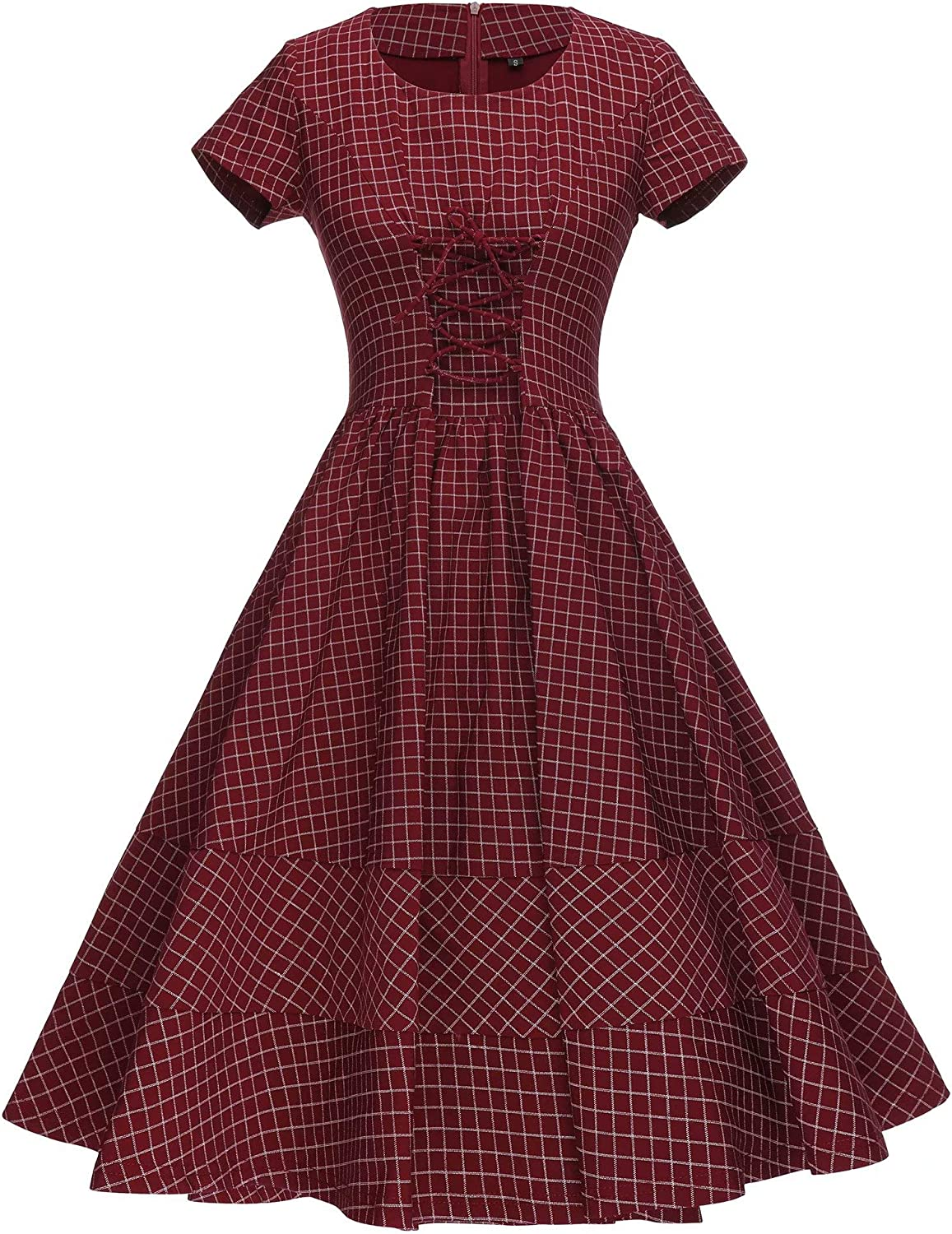 1940s Day Dress Styles, House Dresses GownTown Womens 1950s Vintage Plaid Swing Stretchy Dress $26.99 AT vintagedancer.com