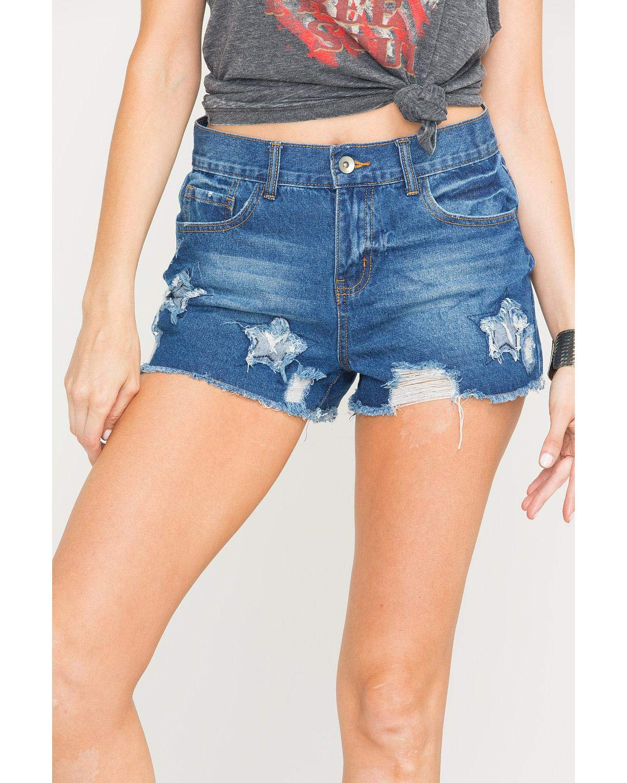Others Follow Women's Blue Star Patch Fray Hem Shorts Blue Large