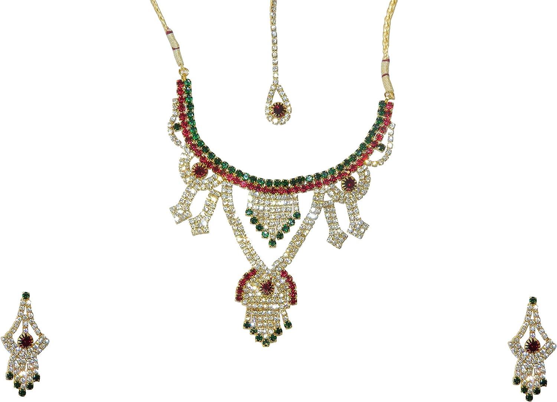 Bollywood conjunto joyas Kareena rojo-verde con bindis y brazaletes indios joyas set sari joyería accesorios