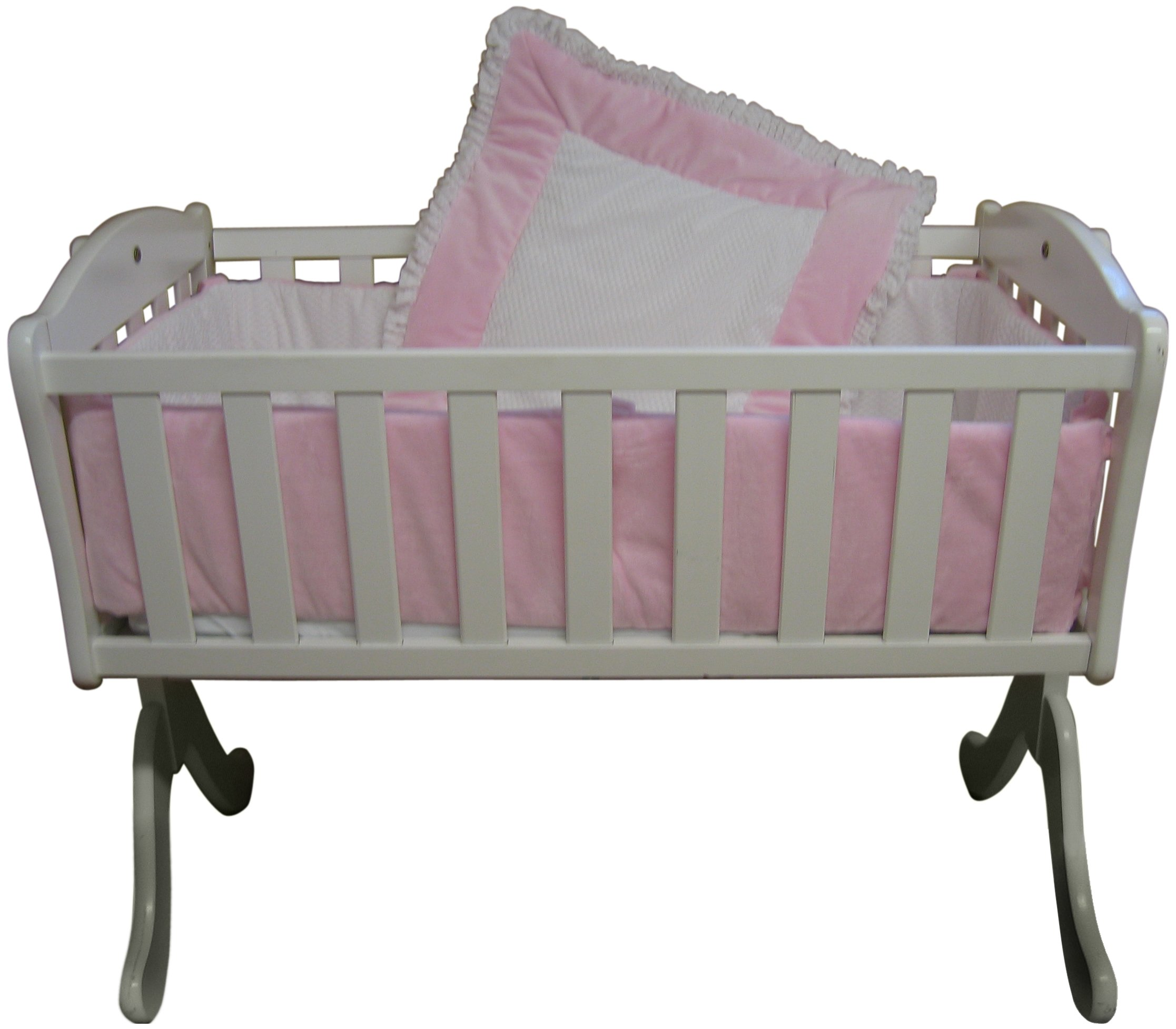 Baby Doll Bedding Snuggle Diamond Minky Cradle Bedding Set, Pink
