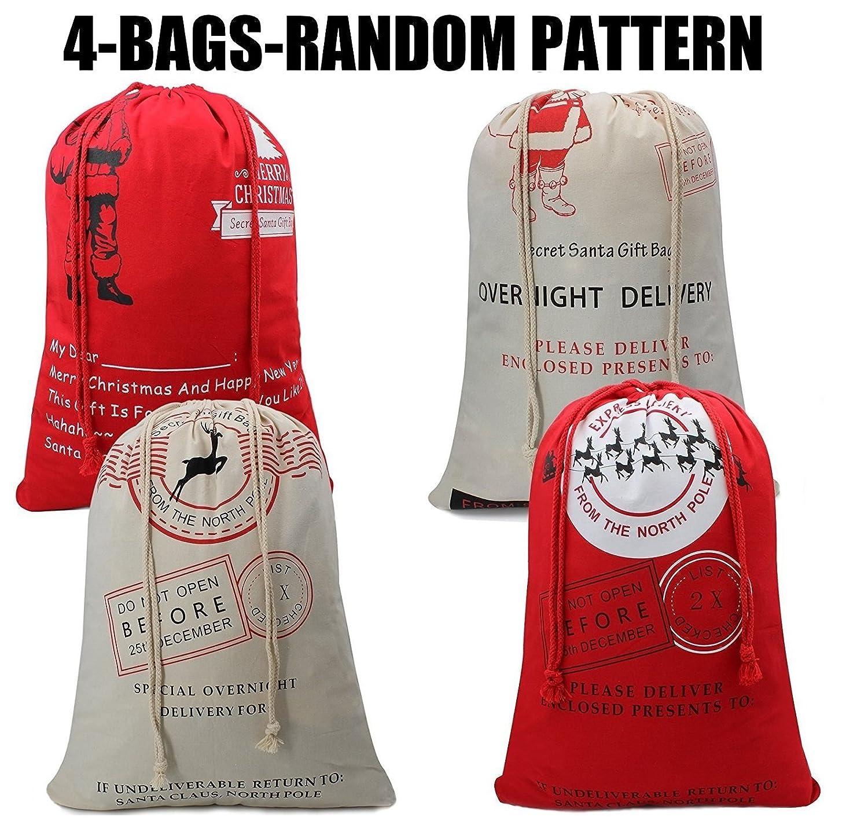 Easter Bunnyキャンバスバッグwith Bunny Easter Egg Huntデザインバッグキャリー卵イースターパーティー、バニーのファン/贈り物キュートトート、ロード65 kgまで X-Large B01N8QM63G Xmas bag4pcs Xmas bag4pcs