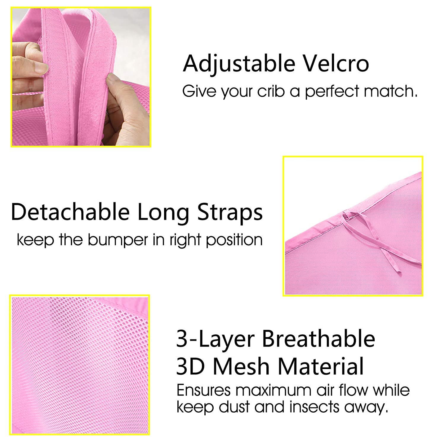 Fits Standard and Other Cribs Mesh Crib Bumper Pink Caroeas Babycare Crib Bumper Adjustable Padded Breathable Crib Bumper Soft Crib Bumper Pads Full Protection