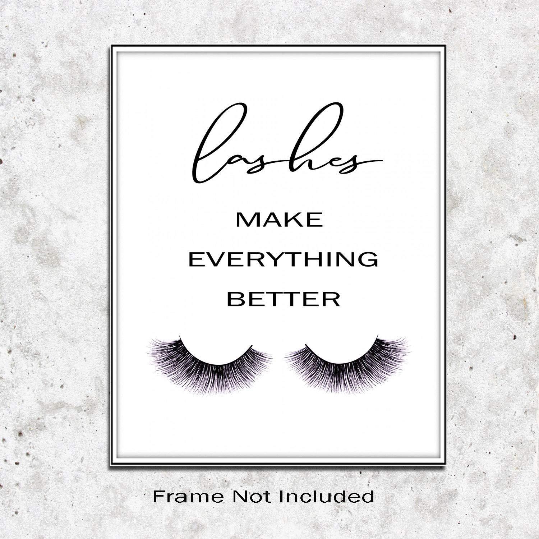 Eyelashes Decor girls room decor Lashes Make Everything Better, Glamour Decor, Bedroom Wall Decor, Inspirational Print, Makeup Lashes Art 11X14 Inch Prints No Framed