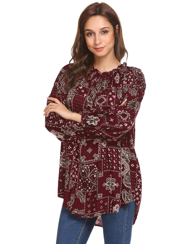 c3eeeade615f Imposes Damen Bluse Sommer Langarmshirt Bohemian Blumendruck Langarm  Oberteil Loose Fit Casual T Shirt S-XXL  Amazon.de  Bekleidung