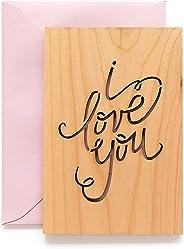 I Love You Calligraphy Laser Cut Wood Card (Love / 5 Year Anniversary/Boyfriend or Girlfriend/Valentine's Day)