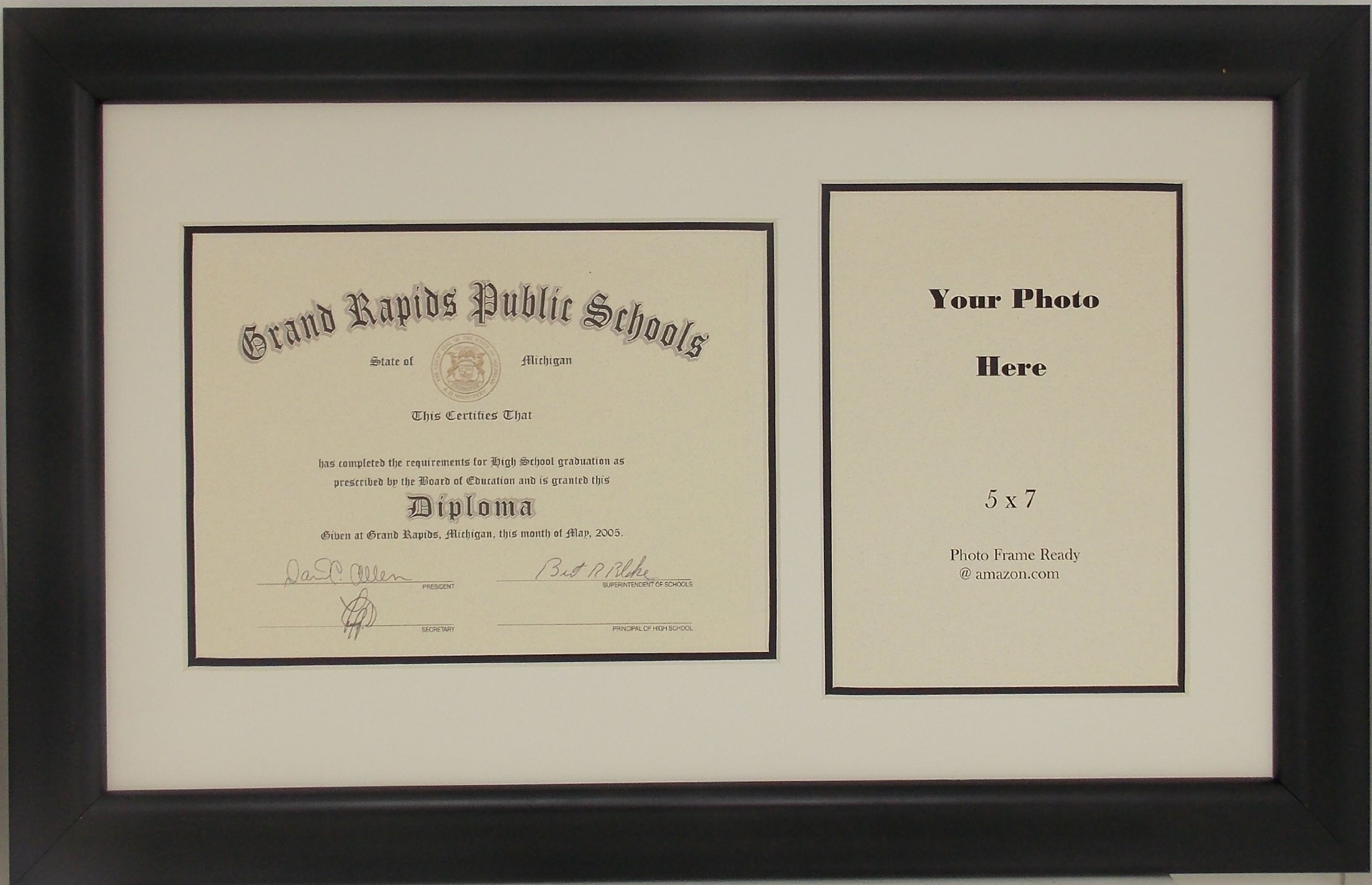 Graduation High School Diploma 6x8 Certificate with 5 X 7 Photo Frame
