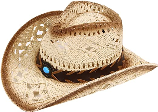 YoungLove Men and Women Sun Hat Costume Straw Cowboy Hat with Decors 5a585543c55