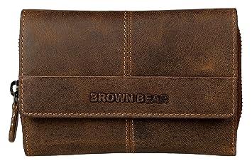 3fc7d78ca41e7 Brown Bear Geldbörse Damen Leder Braun Vintage RFID Schutz groß viele  Fächer Reißverschluss-Fach hochwertig
