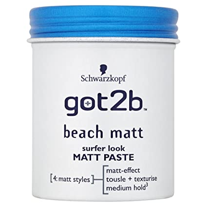 Schwarzkopf Got2b Beach Matt look de surf, Matt Paste 100ml - Paquete de 6