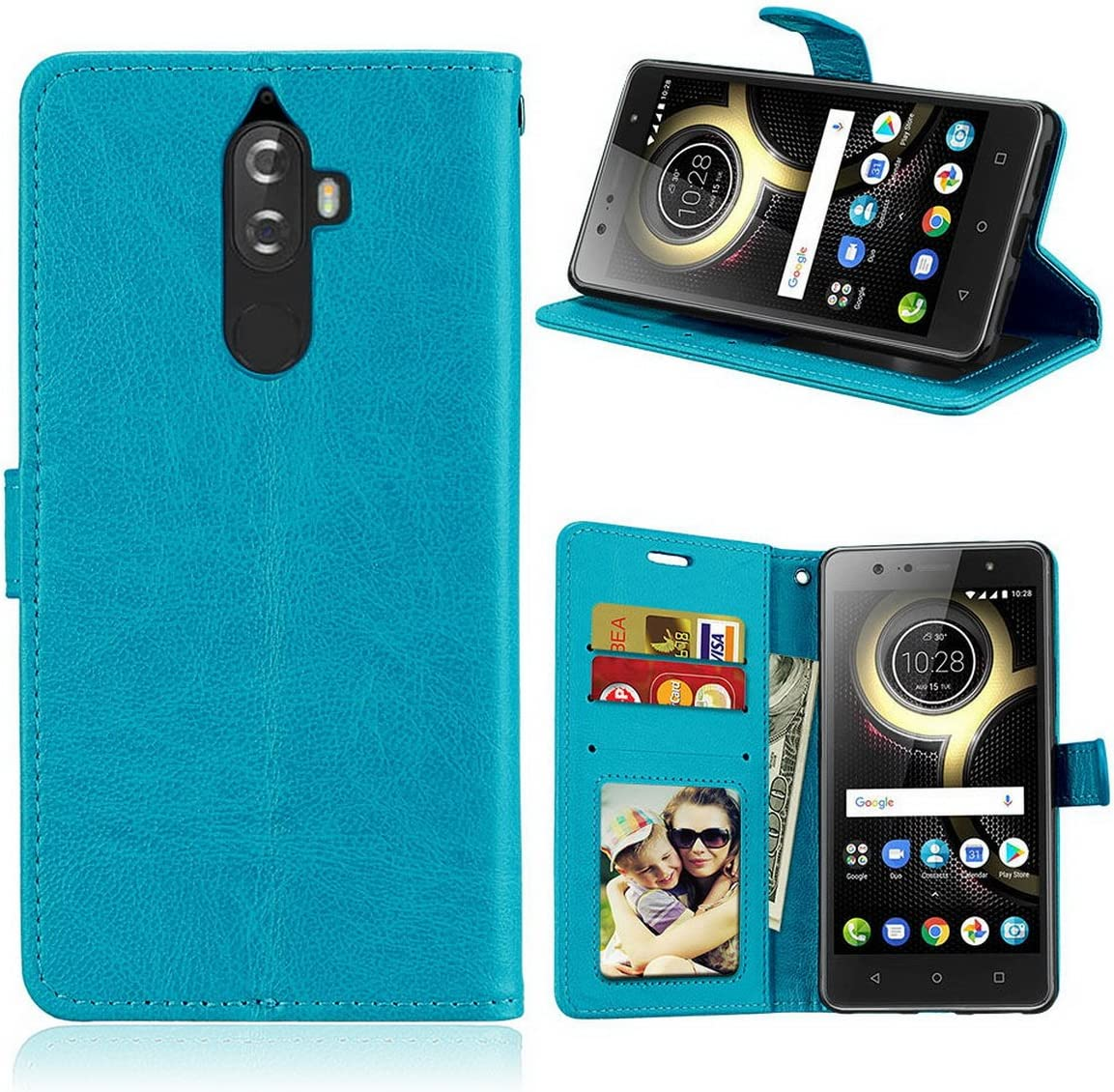 """Lenovo K8 NOTE Wallet Case,Vintage PU Leather Case Shell Kickstand and Flip Magnetic Detachable Slim Back Cover with 3 Card Holder 5.5"""" Only for Lenovo K8 NOTE"""