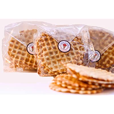 Waffle Cone Alternative - European Style Handmade Gourmet Brodallion Waffle Chip Medallion All Natural Scratch Cones Chip THIN and CRISPY for Coffee Tea Ice Cream or Italian Gelato: Grocery & Gourmet Food