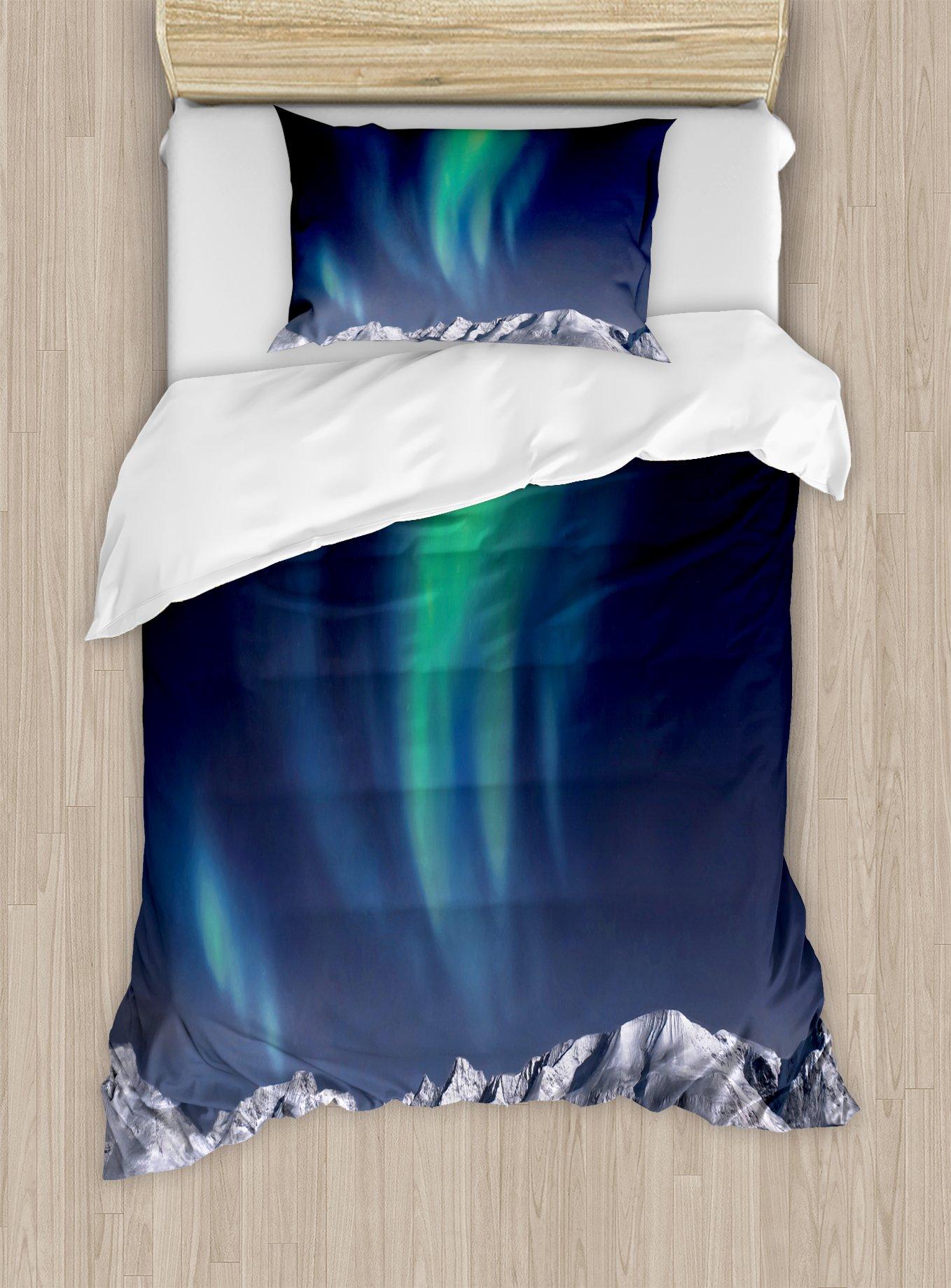 Ambesonne Sky Duvet Cover Set Twin Size, Aurora Borealis Aurora Over Fjords Mountain at Night Norway Solar Image Artwork, Decorative 2 Piece Bedding Set with 1 Pillow Sham, Green Dark Blue