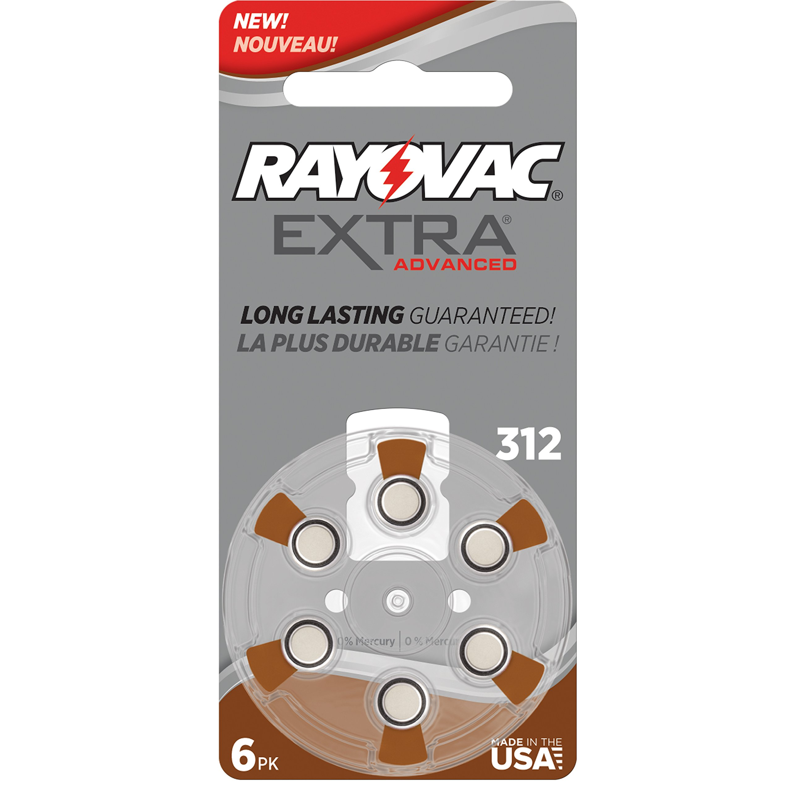 Rayovac Extra Advanced Mercury Free Hearing Aid Batteries Size 312 + Battery Holder Keychain Kit (40 Batteries)