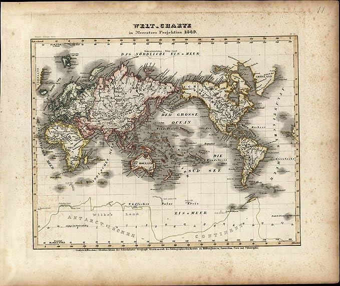 Amazon.com: World Map New Holland Hindostan Antarctic ...